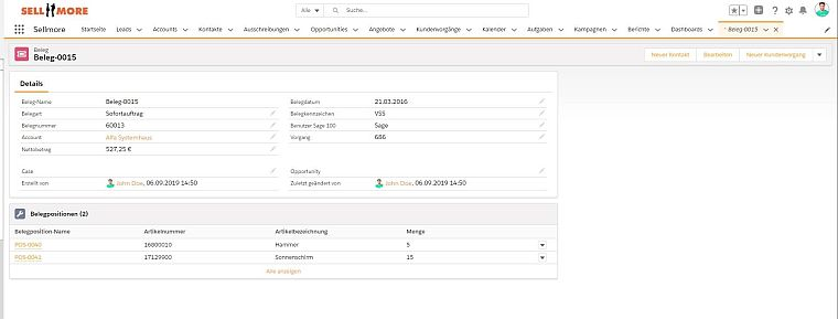 Sellmore Screenshot Salesforce Beleg und Artikelinformationen aus Sage ERP